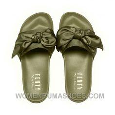 c60c1ae4fbdd Puma X Fenty Bow Slide Olive Branch-Puma Silver Women Sandals Style Number  365774-01 Discount ZCw57h