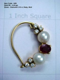 Diamonds,ruby and pearls nath Hyderabadi Jewelry, Maharashtrian Jewellery, Nose Ring Designs, Jewelry Closet, Gold Jhumka Earrings, Gold Jewelry Simple, Nose Jewelry, Necklace Online, Indian Jewelry