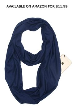 4ac02bc551 Womens Solid Color Infinity Scarf Soft Lightweight Wrap Shawl with Zipper  Pocket ◇ AVAILABLE ON AMAZON