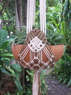 Two arms Macramé Plant Hanger ' Tiara' by handiworkclub on Etsy