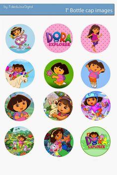 """Folie du Jour Bottle Cap Images: Dora the explorer free digital bottle cap images 1"""" 1inch"""