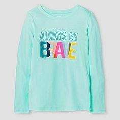 Girls'  Long Sleeve Brave Graphic T-Shirt Cat & Jack™ - Crystalized Green
