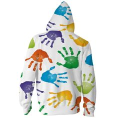 COLORFUL HANDS ZIP-UP HOODIE