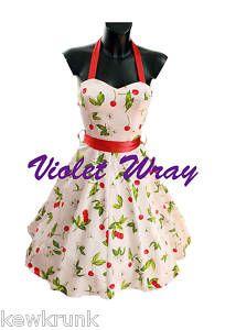 WHITE CHERRY ROCKABILLY PROM 1950'S STYLE SWING DRESS