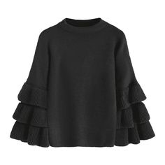 Flouncy Layered Sleeve Pullover Sweater Black (138260 PYG) ❤ liked on Polyvore featuring tops, sweaters, sweater pullover, layered sweater, ruffle trim sweater, flounce sweater and flutter sleeve top