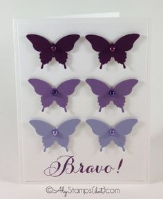 Purple Ombre Butterflies! Stampin' Up! Elegant Butterfly Punch, Bravo Stamp Set and Blendabilities.
