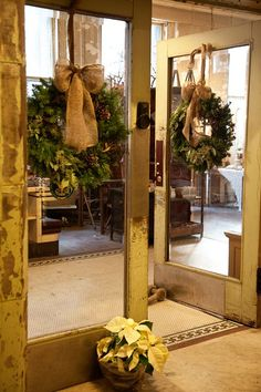simple wreath burlap ribbon - come see the burlap stockings at The White Azalea to go with this look
