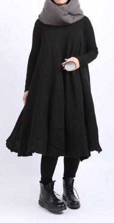 rundholz dip - Strickkleid Tellerform Cashmere Mix black - Winter 2016 - stilecht - mode für frauen mit format...