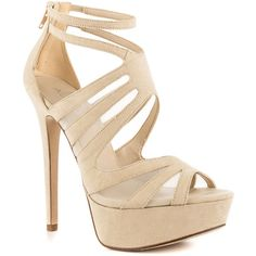 Aldo Women's Olydien - Bone ($90) ❤ liked on Polyvore featuring shoes, sandals, heels, sapatos, high heels, heeled sandals, strappy sandals, sexy strappy sandals, strappy platform sandals and suede sandals