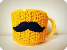 Mustache Mug Cozy #mustache #stache #mo #cup #mug #crochet #cute #yellow #orange #warmer