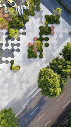 Landscape Architecture Design, Green Architecture, Architecture Jobs, Concrete Architecture, Architecture Diagrams, Landscape Designs, Architecture Portfolio, Parque Linear, Paving Design