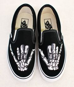 54ff2f27e1d280 Hand Painted Shaka Skeleton Hands - Black Canvas Slip On Vans Shoes