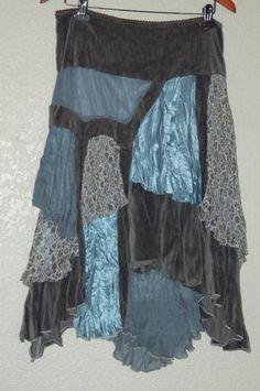 Anthropologie Hazel Boho Lagenlook Velvet Asymmetric hem Skirt Teal Blue Gray M