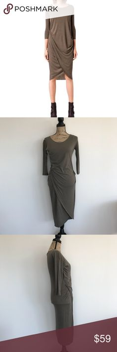 All Saints Warp Sleeve Dress Dark Khaki Size 2 All Saints Warp Sleeve Dress Dark Khaki Size 2!  It's a thicker material being 70% viscose and 30% wool!  Raw hemline.  In lightly used condition, so damage. All Saints Dresses