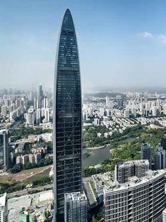 Here are some photographs of the Kingkey 100 skyscraper designed by architects Farrells, currently the tallest building in Shenzhen and tenth tallest in the world Dezeen Architecture, Beautiful Architecture, Contemporary Architecture, Architecture Design, Wooden Skyscraper, Amazing Buildings, Construction Types, Building Facade, Oscar