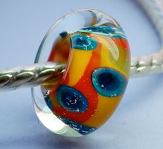 special sale handmade lampwork large hole bead fits Trollbeads parrot tulips bright yellow red and cobalt by Paulbead