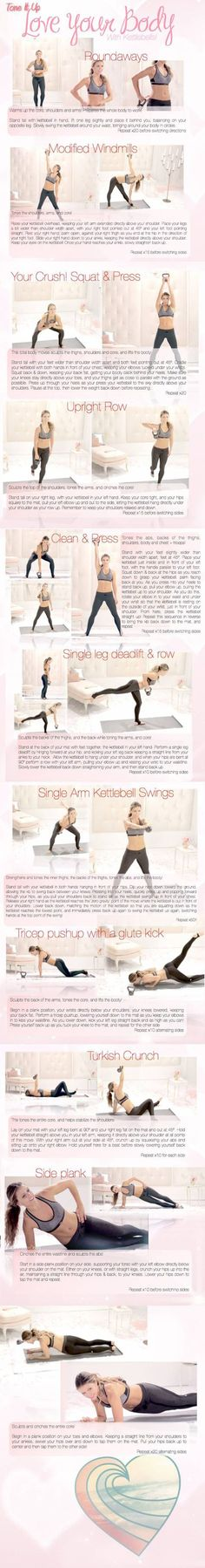 NOTE from TeamMona: I love multi-tasking Kettlebells! Click on image for complete workout. Most of this workout can also be done with regular hand weights. Just ask me how. :-)  www.facebook.com/goTeamMona  :-)  LYB-Kettlebell-katrina-tone-it-up-toned-up-printable-jpg
