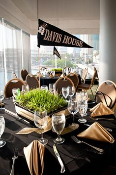 pennants with table numbers for center pieces