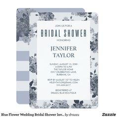 Blue Flower Wedding Bridal Shower Invitation