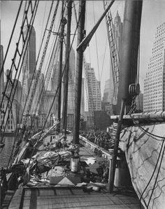 Pier 11, East River, Manhattan - by Berenice Abbott [1936]
