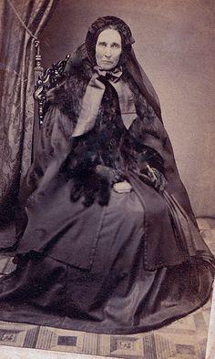 Almira Dunbar in Mourning for her Daughter,Unmarked Albumen Carte de Visite, 1860