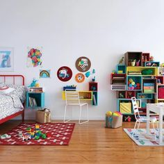 Our Cube and Narrow Wall Shelves connect to modular pieces in our Cubby Wall Shelf Collection to build shelves, desks & more for your kids' room. Bookshelves Kids, Bookcase Shelves, Wall Shelves, Build Shelves, Design Blog, Home Design, Interior Design, Cube Wall Shelf, Soft Flooring