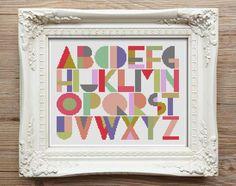 Baby Deco in pinks Ice Cream Sundae colour palette.  Caterpillar Cross Stitch - modern baby alphabet cross stitch kits