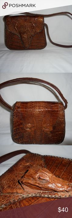 """Vintage 1940s Genuine Alligator Purse Handbag Cuba A Very Nice Vintage 1940s Genuine Alligator Purse Handbag Made in Cuba. Strap can be adjusted for hand held or over the shoulder. About 8.5 x 7"""" not counting strap. Vintage 1940s Genuine Alligator Purse Handbag is in very good very nice condition with no problems. See other items for more vintage and designer clothing. Thank you. Vintage Bags Shoulder Bags"""