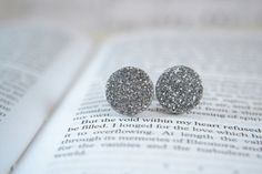 silver and gray glitter circle earrings with by sparkletowndesign, $15.00
