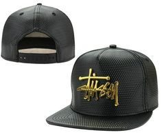 Men's Stussy Gold Metal Stussy Script Logo Full Faux Leather Snapback Hat…