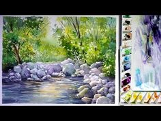 Watercolor landscape painting : a Stream - YouTube