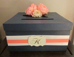 Coral and Navy Blue Wedding Card Box, Wedding Card Holder #weddingcardbox #coralandnavywedding #weddings by AnArtsyAffair, $45.00