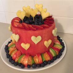 Watermelon Birthday Cake with Fresh Fruit