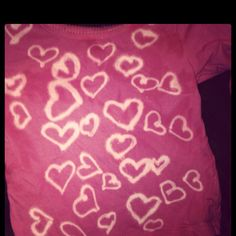 Bleach pen hearts on a shirt