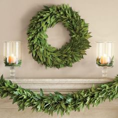 Bay leaf wreath and candles.