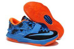 new products 69683 65d72 Billig Komfort Zoom KD 7 Big Sko Orange Svart Ocean Blue Salg Online Best  Air Jordan