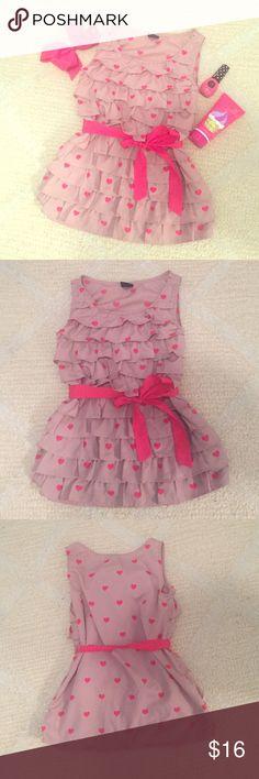❤️Gap Valentine Top❤️ Excellent condition, adorable heart top. Sleeveless, side zip, pink tie around waist. GAP Shirts & Tops Blouses
