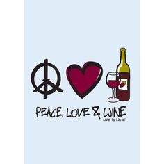 Peace Love & Wine Beverage Coasters by Wine is Life, Set of 12 Wine Meme, Wine Funnies, Traveling Vineyard, Wine Searcher, Wine Guide, Wine Signs, Wine Wednesday, Wine Art, Wine Quotes