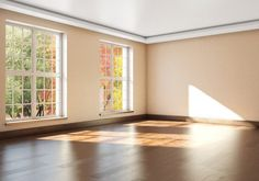 Mockup empty interior with large Windows. 3d rendering
