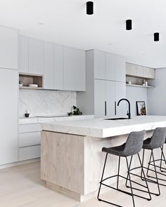 Zephyr and Stone - Light and bright Kitchen with grey cabinetry and marble benchtop Rustic Kitchen Design, Home Decor Kitchen, Kitchen Furniture, Home Kitchens, Kitchen Dining, Kitchen Shop, Küchen Design, Home Design, Layout Design