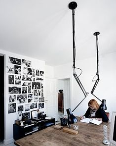 ceiling desk lamp Pernille Kaalund - fantastic idea!!!! Ikea Antifoni ceiling and floor lamps would work. http://www.ikea.com/us/en/catalog/products/80255530/?query=ANTIFONI+Floor%2Freading+lamp http://www.ikea.com/us/en/search/?query=ANTIFONI+Work+lamp