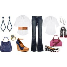 Classic jeans and white shirt plus accessories