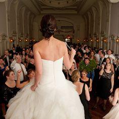 epic shot of bride singing on stage!   Natural Light Photography #bournemansion @Bourne Mansion