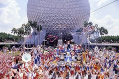 "With a ""center ring"" 400 feet in diameter and Spaceship Earth as its backdrop, the Daredevil Circus Spectacular brought an ""international cast of spine-tingling acts"" to Epcot for a 30-minute show."