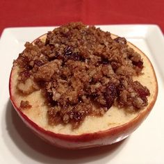 Our October Superfoods of the month are Mushrooms and Apples. Warm apples and a crispy topping make this a comforting fall dessert. Leave the skin on the apples for a dose of fiber.