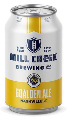 Nashville SC Goalden Ale #craftbeer #beer #usl #mls #soccer #futbol #design #graphicdesign #can #nashvillesc #sports Beer Packaging, Design Packaging, Label Design, Logo Design, Graphic Design, Brewery Design, Mls Soccer, Cheese Curds, Beer Cans