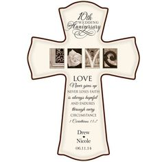 """Personalized 10th Wedding Anniversary Cross """" Love Never Gives Up"""" for Wall or Desktop (12"""" W X 17"""" H) Cream Color DaySpring Milestones http://www.amazon.com/dp/B00JPHLIOQ/ref=cm_sw_r_pi_dp_1mtKtb07CMQF4AN5"""