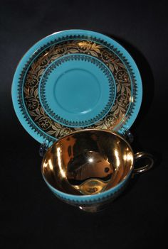 Vintage Barvaria made in Germany Gold/Aqua Teacup and Saucer.. Gorgeous!