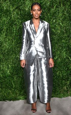 The singer shows off her unique style by rocking a silver suit at the13th Annual CFDA/Vogue Fashion Fund Awards in New York City.