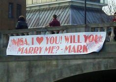 Mark's proposal banner is attached to Silver Street bridge